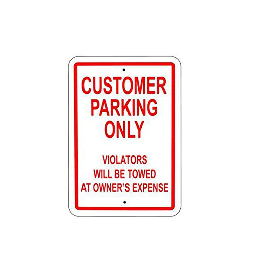 (ALEKO WSN04 Aluminum Customer Parking Only Sign Metal Signs 8 x 12 Inches)