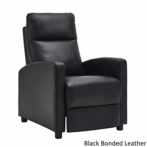 Black Bonded Leather Reclining Chair and Contemporary Style, Foam-Padded Seat, Included Cross Scented Candle (Reclining Bonded Leather)