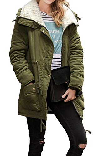 Size long Mogogo Cappotto Army Green Soprabito Womens Plus Pure Color Slim Fit Mid 4wxRfwqE