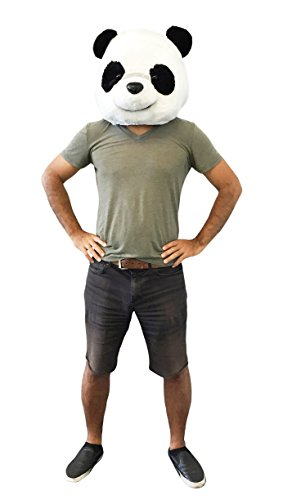 CLEVER IDIOTS INC Animal Head Mask - Plush Costume Halloween Parties & Cosplay (Panda)]()