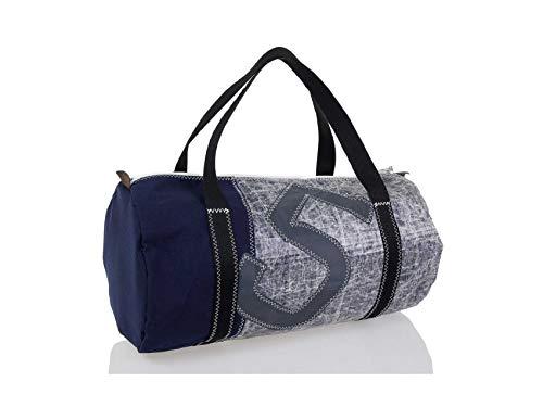 727Sailbags ONSHORE, Weekender Sporttasche für Damen und Herren aus recyceltem Techniksegel, Acrylboden Marineblau, Zahl 5 Grau