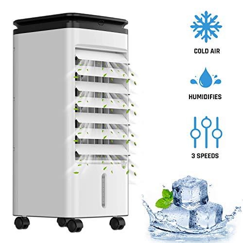 🥇 KLIM™ Fresh – Aire Acondicionado portatil y climatizador evaporativo + Refresca y humidifica el Ambiente + 3 velocidades y oscilación + Incluye depósito de Agua y Botellas congelables + Nuevo 2020