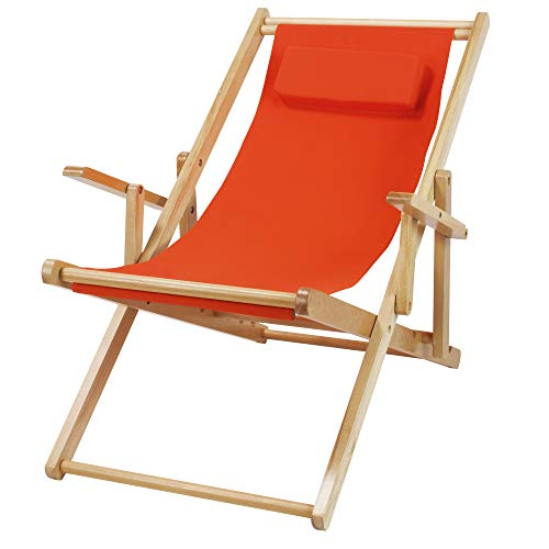 - Casual Home  Adjustable Sling Chair Natural Frame, Orange Canvas