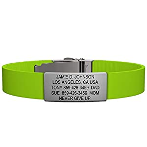 Road ID Bracelet - the Wrist ID Elite 13mm - Stainless Classic - Identification Bracelet, ID Wristband, Child ID, and Sport ID - Fits Adults & Kids