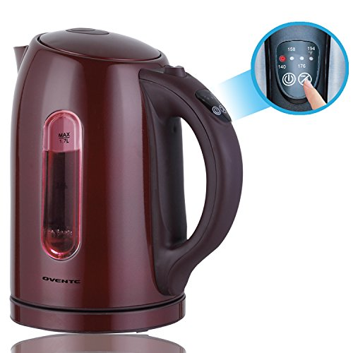 Ovente KS88BR 1.7 Liter BPA Free Temperature Control Stainless Steel Cordless Electric Kettle with Keep Warm Function, Chocolate Brown (Electric Kettle Brown compare prices)