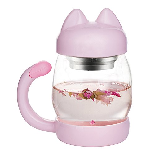 Cute Cat Tea Mugs   Samantha 14Oz Glass Tea Cup With A Lid   Strainer   Portable Cute Cat Tail Heat Resistant Mugs  Free With A Coasters   Heat Resistant Mugs Gift