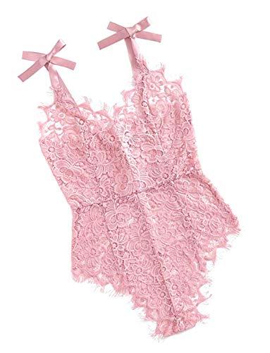 Women Lace Eyelash Teddy Bodysuit for Women Lingerie One Piece Flower Negligee Babydoll Nightwear (Medium, 00-Pink)