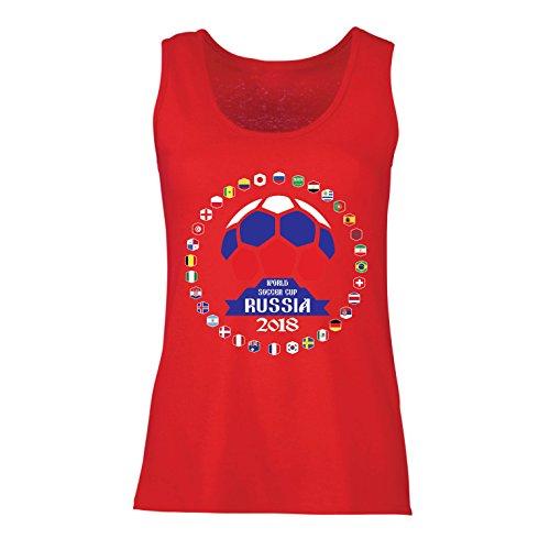 lepni.me Camisetas sin Mangas para Mujer Las 32 Banderas del Equipo de fútbol Nacional - Copa del Mundo de fútbol de Rusia...