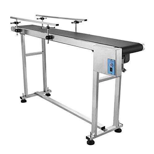 OrangeA Belt Conveyor 59 x 7 8 inch Adjustable Conveyor Table 0-82 ft/min  Conveyor Belt Stainless Steel Motorized Anti-static PVC Belt with Double