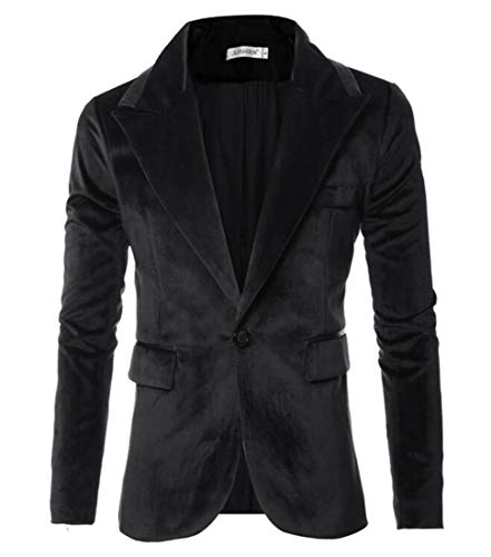 Domple Mens Slim Velvet Outwear Lapel One Button Sport Coat Blazer Jacket Black US L by Domple
