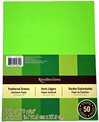 Recollections Cardstock Paper, 8 1/2″ X 11″ in Feathered Greens – 50 Sheets – The Super Cheap