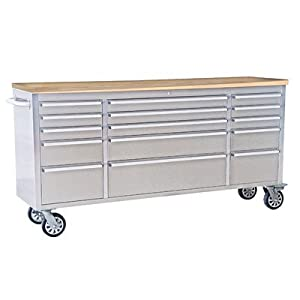 "72"" Wide 15 Drawer Stainless Steel Anti-Fingerprint Tool Chest with Work Station"