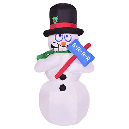 Tangkula 6' Inflatable Shivering Snowman LED Airblown Yard Holiday Decoration Snowman