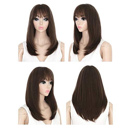 Women Girls Synthetic Wig,Yanvan Women's Medium Straight Full Wig Synthetic Hair Cosplay Party Anime Hair Wigs,Heat Resistant Hair Women Cosplay Wig ()