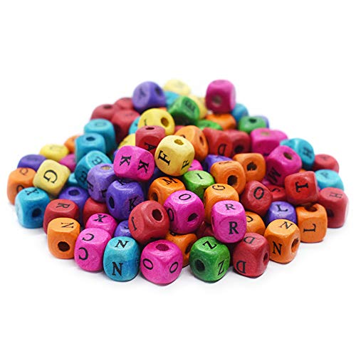 DLUcraft Colorful Wooden Cube Beads Alphabet Letter