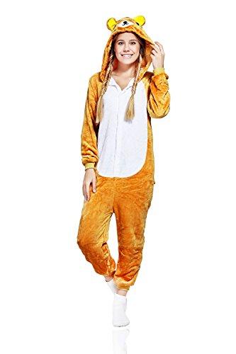 [Adult Bear Onesie Pajamas Animal Kigurumi Cosplay Costume One Piece Fleece Pjs (S, light brown, white)] (Teddy Bear Costume For Women)