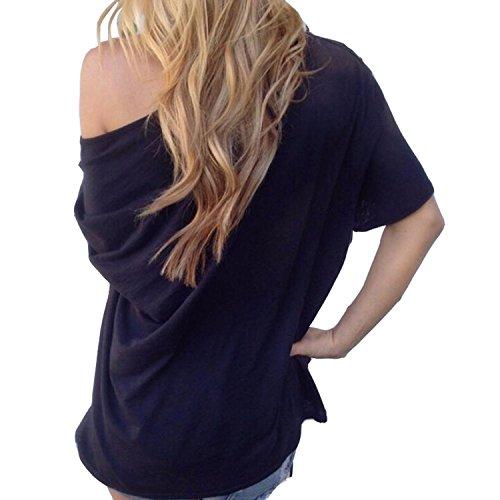 Ragazza Tops Giovane Bluse Corta Nero Camicette Casual Estive Puro Sciolto Abbigliamento Manica shirt Donna Basic Magliette Spalla T Moda Obliquo Colore EgT46q
