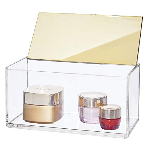 mDesign Large Makeup Organizer Box with Decorative Lid for Bathroom Vanity Countertops, Cabinet - Store Makeup Brushes, Eye Shadow Palettes, Lipstick, Lip Gloss, Jewelry - Plastic - Clear/Soft Brass