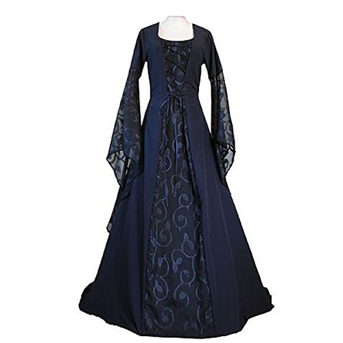 Womens Renaissance Medieval Costume Lace Up Floor Length Gown Long Dress (L, blue) (Hooded Renaissance Dress)