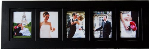 Cheap  MyBarnwoodFrames Lightly Distressed Black Collage Multi-opening Wood Picture Frame, Handmade (5 Opening,..