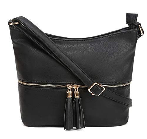 - DELUXITY Medium Size Hobo Crossbody Bag with Tassel/Zipper Accent (Black)