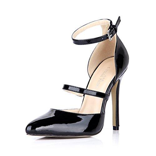 Zapatos De Tacón De Aguja Mary Jane Dress Mujeres Zapatos De Tacón Alto Con Punta Fina Dolphingirl Prime Black
