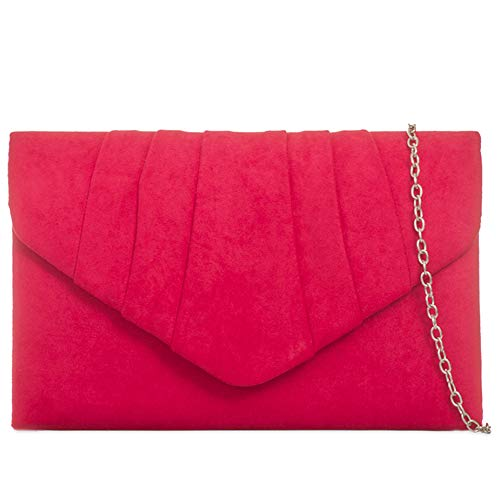 Wedding London Womens Prom Bag Plain Ladies Red Clutch Suede Craze Purse Evening Bag Hand Women's Party OIwaqIRd