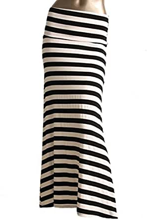 Azules Women'S Poly Span Multiple Selection Print Maxi Skirt Black/White S