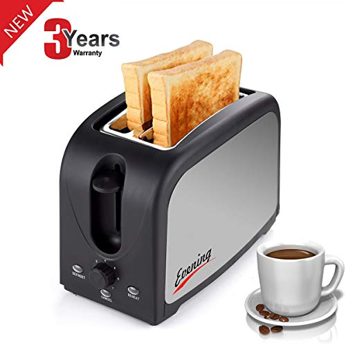 2-Slice Toaster,Household Automatic Fast Heating Compact Brushed Stainless Steel Bread Toaster Breakfast Bagels Muffins,Waffles,Bagels,Wide Slot Temp-Control,Cool Touch Defrost Reheat Cancel Review