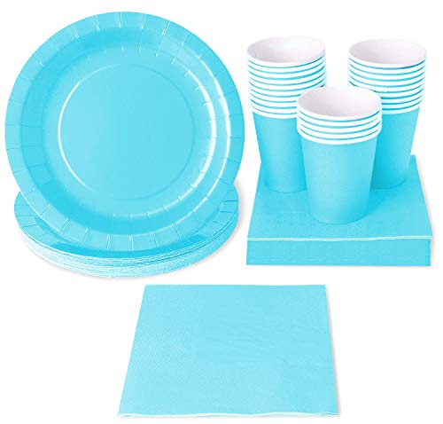 (Turquoise Party Supplies (Serves 24 Guests) Disposable Dinnerware Set Includes Paper Plates, Cups and Napkins)