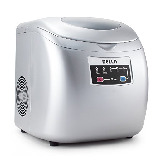 DELLA   High Capacity Portable Ice Maker   Touch Button Display   26 Pounds a Day   3 Cube Sizes   Silver   Home  ...