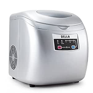 Della Portable Ice Maker Easy-Touch Buttons 26lb Per Day Countertop Machine 3 Selectable Cube Sizes -Silver