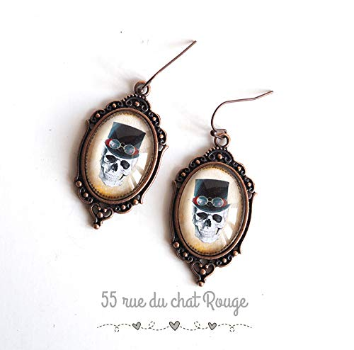 Cabochon earrings, Skull and crossbones, black and white, copper finish, retro earrings ()