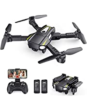 $54 » SANROCK H859 Drones for Kids Adults with 1080P HD Camera, Foldable Mini Drones Toys Gifts for Beginners, WiFi FPV RC Quadcopter with Voice Control, Gesture Control, Speed Adjust, 3D Flip, 2 Batteries