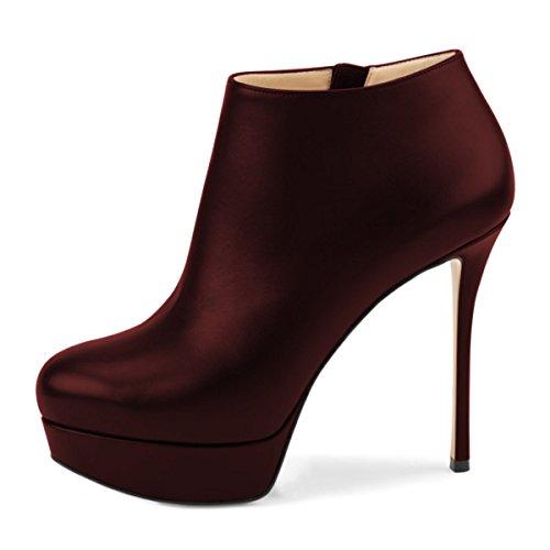 Shoes Ballroom Zip Toe Heel Nancy Wine Platform Sexy Red Pointy Stiletto Bootie Pumps NJPU High Women Jayjii OFB67