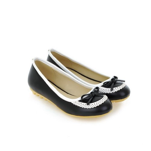 US Women's Round 7 Flats Bowknot WeenFashion PU Black M Toe B Solid whith Closed Material Soft SqwZnfp