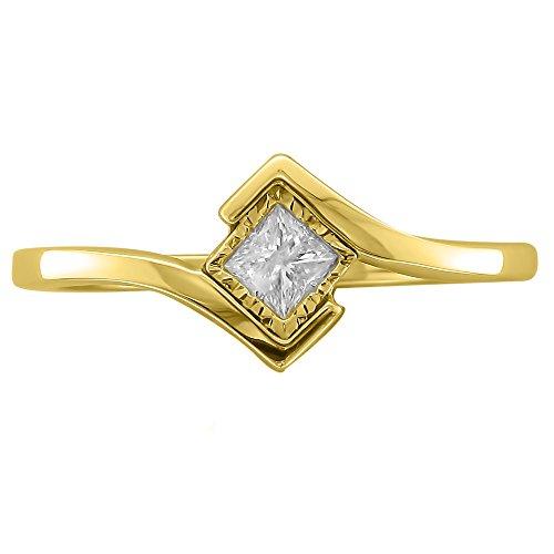 14k Yellow Gold Princess cut Solitaire Diamond Bezel Set Engagement Ring (1/5 cttw, I J, I1 I2)