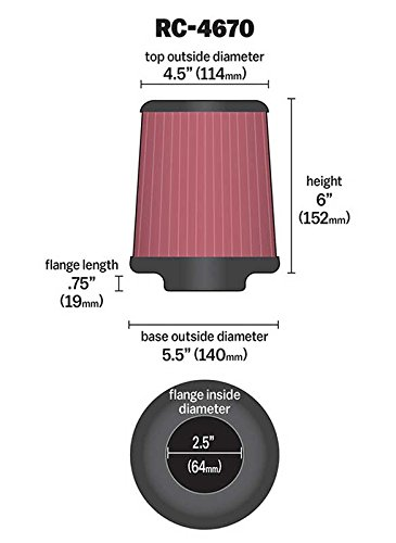 64 mm Base; 4.5 in K/&N RC-4670 Universal Clamp-On Air Filter: Round Tapered; 2.5 in Flange ID; 6 in 152 mm 114 mm Height; 5.5 in Top K/&N Engineering 140 mm