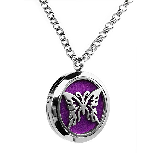 Aromatherapy Essential Oil Diffuser Necklace Butterfly Pattern Stainless Steel Locket (Diy Jasmine Costumes)