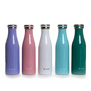 BINO 'Leche' Double Wall Vacuum Insulated Stainless Steel 15 oz Water Bottle, Light Pink