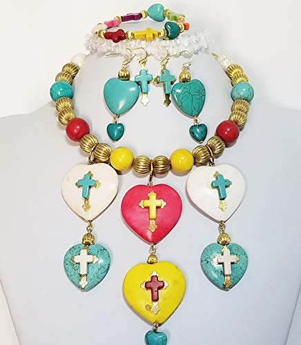 Carved Gemstone Big Colorful Hearts Gold Crosses Faith Love Necklace Earrings Bracelet One of a KInd