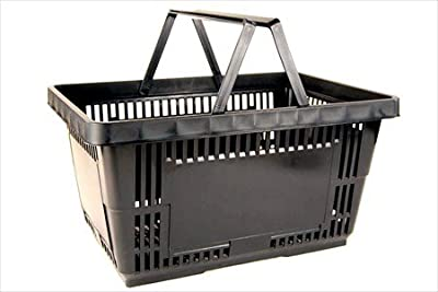 Plastic Shopping Baskets w/ Handles - Set of 12 - Eco Friendly Reusable Retail Store / Grocery Basket - Better Than Paper or Plastic Bags