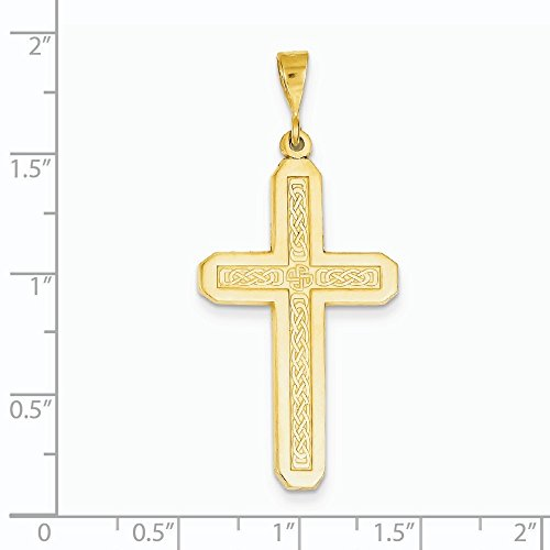 14 Carats Pendentif croix-Dimensions :  21,5 x 46,8-JewelryWeb mm