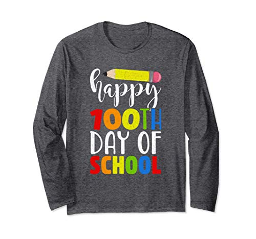 Unisex Happy 100th Day of School Shirt for Teacher or Child Medium Dark Heather ()