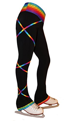 Ice Fire Figure Skating Criss Cross Pants - Spectrum Gold (Child Large) (Ice Skating Pants)