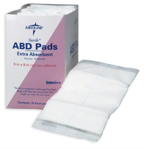 Medline Sterile Abdominal Pad, NON21450H, 5 inch x 9 inch, 2 Packs of 25 Count - Total 50 (Package May Vary) by Medline