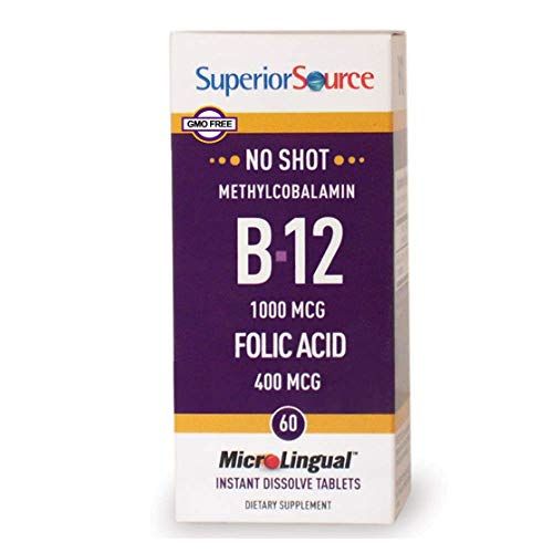 Superior Source No Shot Vitamin B12 and Folic Acid Instant Dissolve Tablets – Methylcobalamin 1000 mcg Folic Acid 400 mcg – Active B12 Sublingual 100 Count