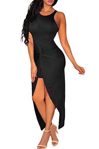 [Dearlovers Women Bodycon Sleeveless Club Dress Large Black] (Cheap Plus Size Fancy Dress)