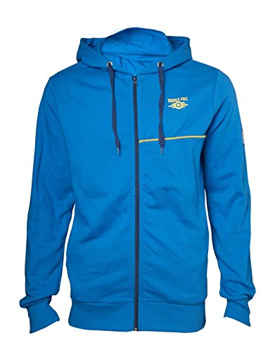 Price comparison product image Fallout 4 Hoodie Vault Boy Logo Official Ps4 Xbox Mens Blue Zipped