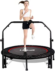 """FirstE 48"""" Foldable Fitness Trampolines, Rebound Recreational Exercise Trampoline with 4 Level Adjustable"""